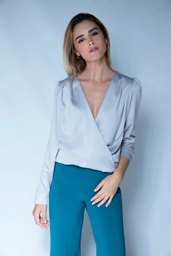 Gray Satin Blouse – Camille